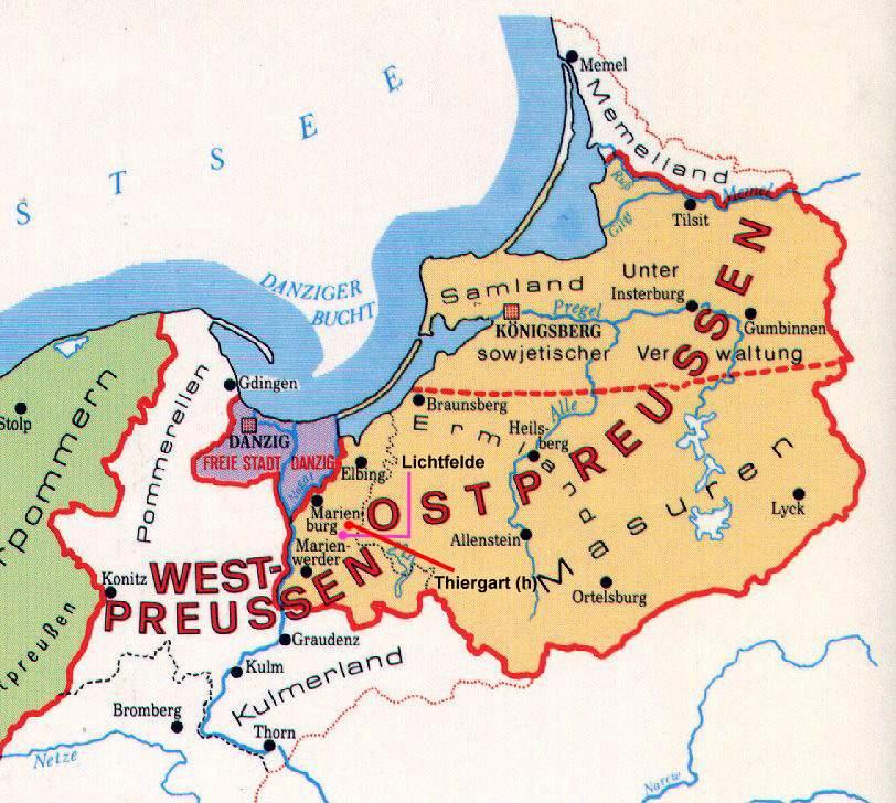 Karte Ostpreussen